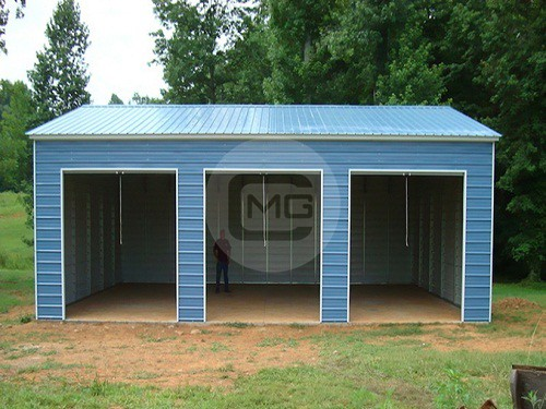 30x41x12 vertical garage triple wide garage building for How wide is a 3 car garage