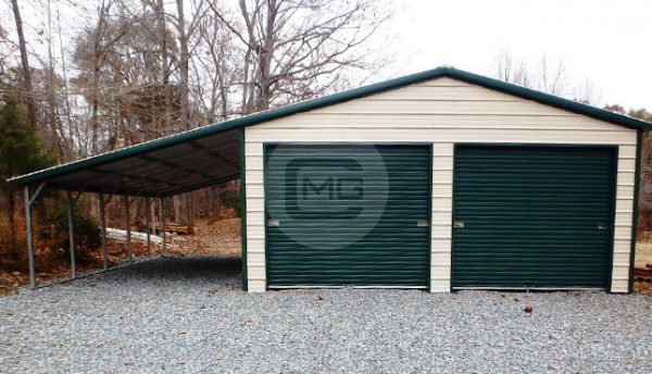 vertical-roof-garage-with-12'w-lean-to