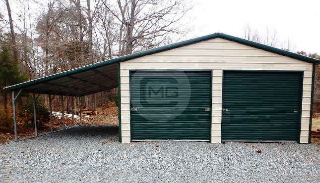 Vertical Roof Garage With 12 W Lean To