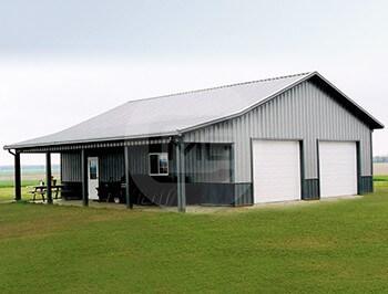 42x41 garage workshop with porch 42 wide workshop for Metal garage with porch