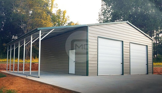38x25 Metal Shop With Lean To Storage With Lean To