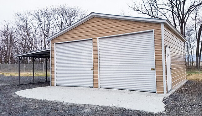 24x30 Metal Garage with Lean-to