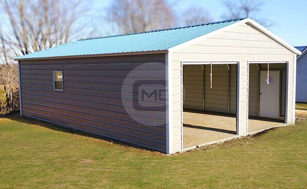24x50 Prefab Metal Garage | Prefabricated Garage for Two Cars