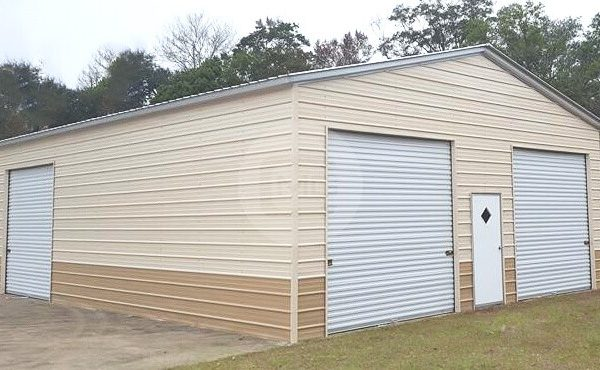 28x40 Two Tone Metal Garage Garage With Color Match