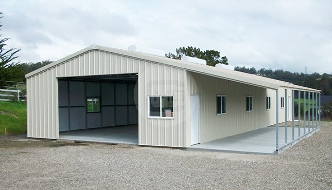 40x46 Enclosed Building With Lean To Metal Workshop Building