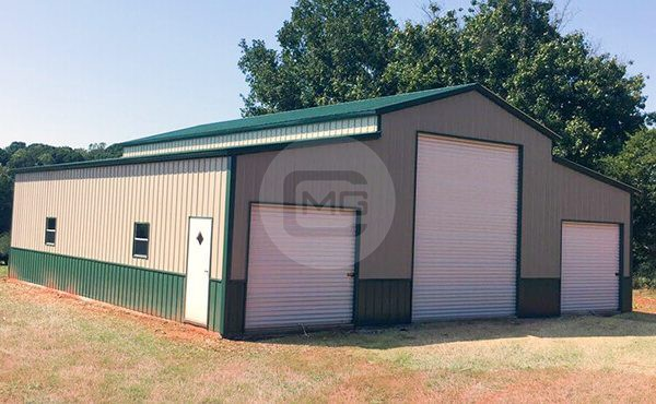 44x46 Two Tone Barn Lean To Vertical Roof Barn
