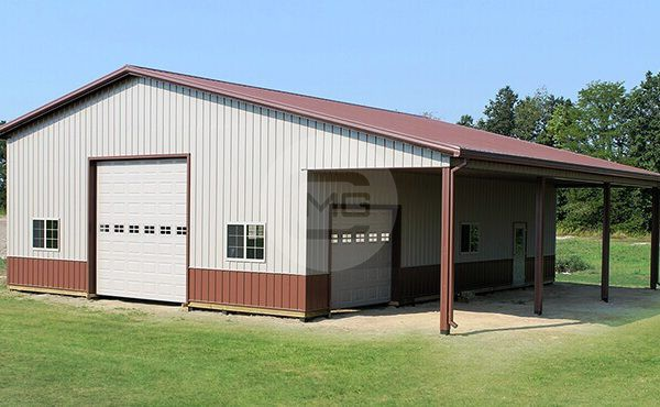 48x40 lean to garage deluxe garage building for Garage with lean to