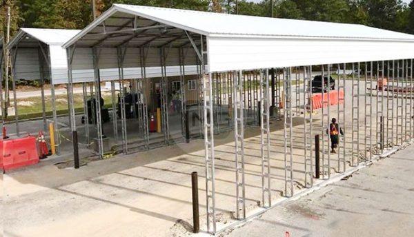 40x76 Vertical Roof RV Carport