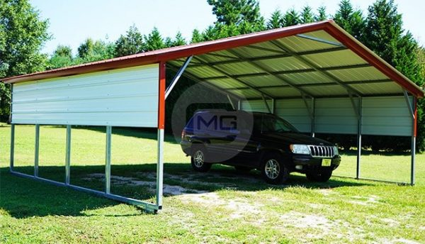 24x21 Vertical Roof Steel Carport