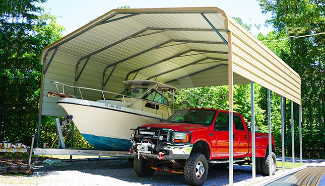 24×26 Regular Roof Boat Carport