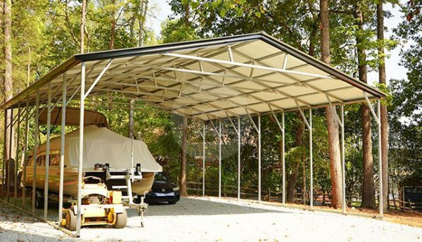 30x36 Vertical Roof Metal Boat Carport