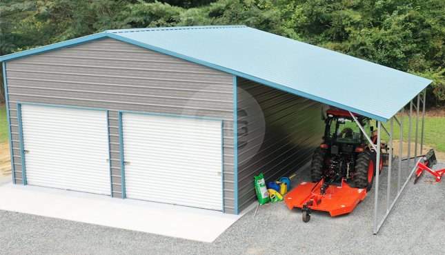36x26x12/9 Garage with Lean-To